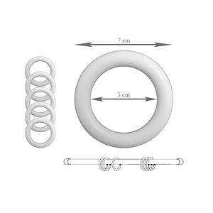 Anneaux tringle à rideaux plastique blanc 50 mm - Lot de 5