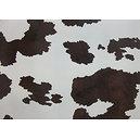 Tissu skaï imitation vache tâches marron / fond écru