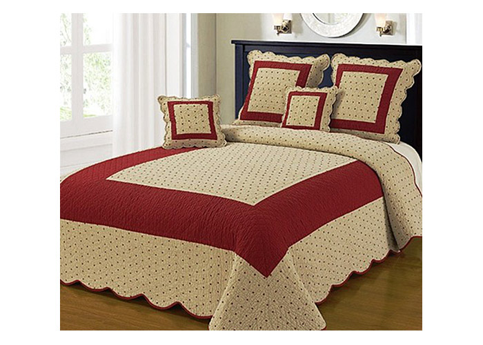 couvre lit boutis ines rouge brod d 39 toiles 230x250 cm. Black Bedroom Furniture Sets. Home Design Ideas