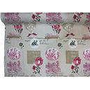 Tissu lin imprimé romantique médaillon rose