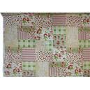 Tissu lin imprimé patchwork fleuri de roses rouges