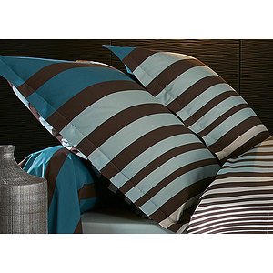 parure housse de couette stripe bleu percale de coton pour lit de 120 ou 140 cm ebay. Black Bedroom Furniture Sets. Home Design Ideas