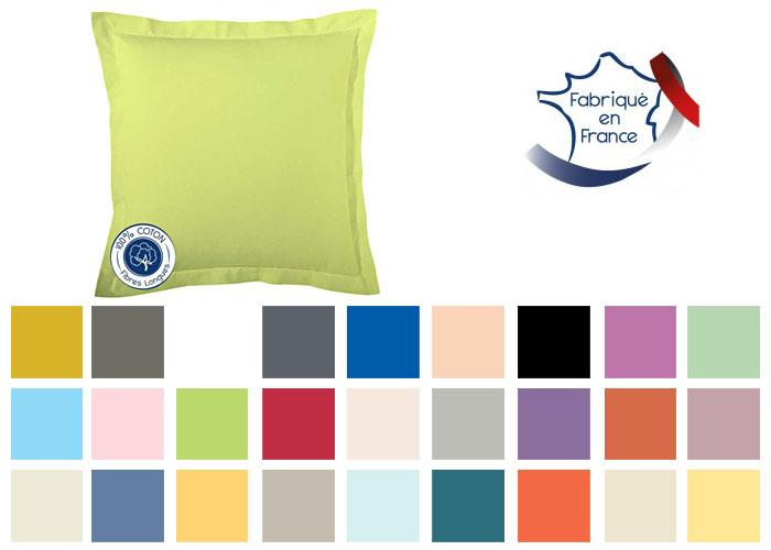 Taie D Oreiller 65x65.Taie D Oreiller Carree 65x65 Cm Coton Couleur Uni Tradilinge