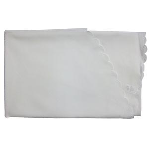 Nappe blanche unie ronde bord festonné