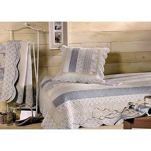 couvre lit et plaid boutis marylou bleu. Black Bedroom Furniture Sets. Home Design Ideas