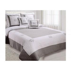 couvre lit boutis gris blanc peaceland pour lit de 90 140 160 180 ou 200 cm. Black Bedroom Furniture Sets. Home Design Ideas