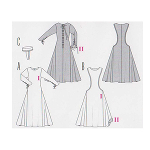 patron adulte femme burda 7977 pour robe historique du moyen ges ebay. Black Bedroom Furniture Sets. Home Design Ideas