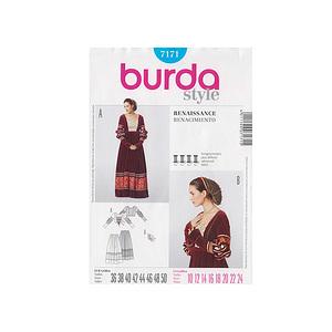 patron adulte femme robe historique de la renaissance burda 7171. Black Bedroom Furniture Sets. Home Design Ideas