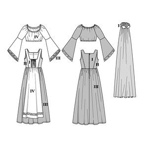 patron femme adulte robe historique de chatelaine patron burda 2509 ebay. Black Bedroom Furniture Sets. Home Design Ideas