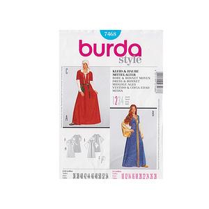 Patron robe & bonnet du moyen âge - Patron Burda 7468