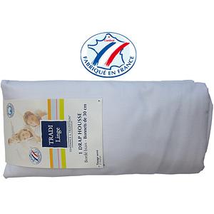 Drap housse coton uni blanc 80x190 cm Tradilinge