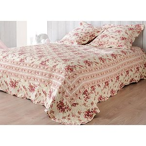 couvre lit et plaid boutis fleuri roselyne lit 140 160 ou 180 cm. Black Bedroom Furniture Sets. Home Design Ideas
