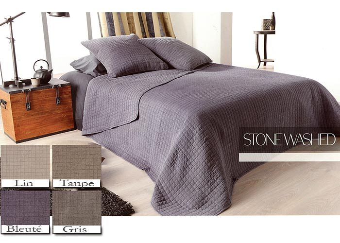 couvre lit et plaid uni d lav stone washed boutis et plaids par linder. Black Bedroom Furniture Sets. Home Design Ideas