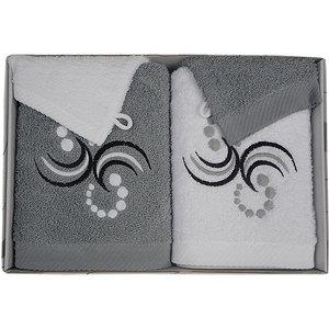 Coffret éponge 4 pièces gris et blanc Motif