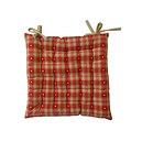 Galette de chaise 40x40 écossaise Rouge-lin Motif coeur lin