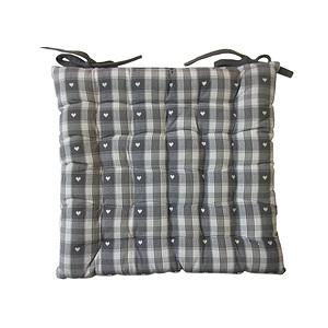 Galette de chaise 40x40 ecossaise coloris gris blanc motif - Galette de chaise blanc ...