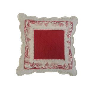 Housse de coussin boutis MERIBEL rouge