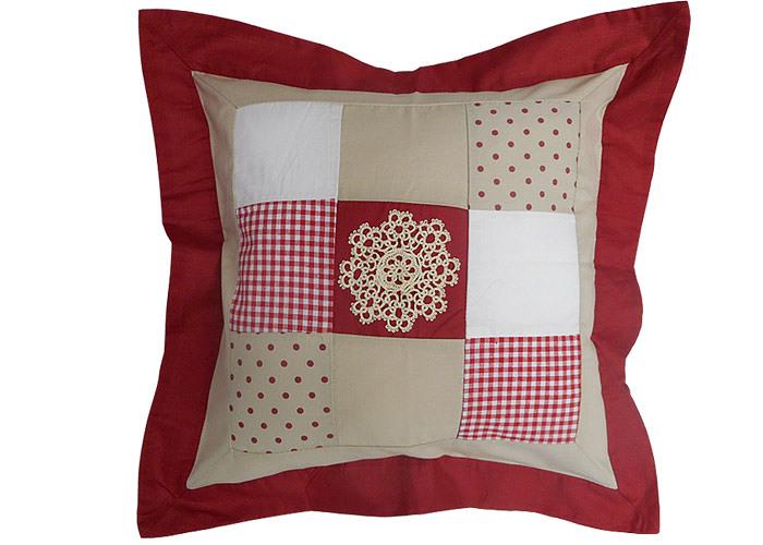 Housse de coussin vichy rouge gros carreaux pictures to - Housse de coussin patchwork ...