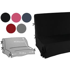 Housse canapé clic clac unie taille unique à nouettes et jupe