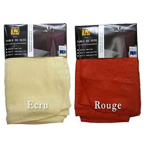 Nappe ronde 180 polyester uni aspect froissé pour 4 à 6 couverts
