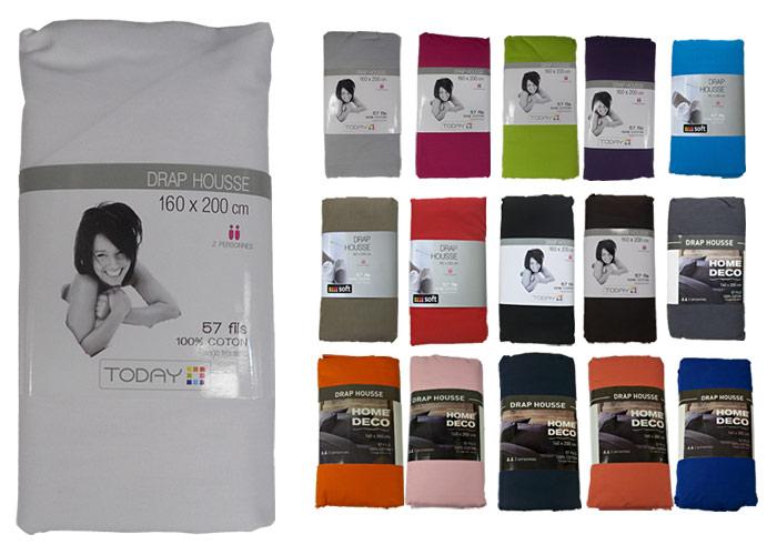 drap housse coton uni 57 fils 160x200 lit deux personnes de 160 cm drap housse pas cher drap. Black Bedroom Furniture Sets. Home Design Ideas