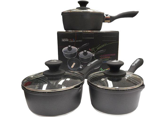 série casseroles noires manche amovible shumann professionnel