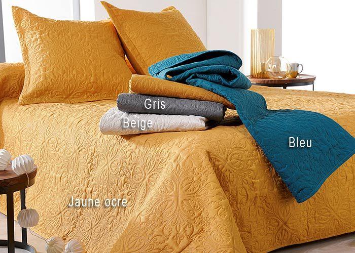 couvre lit boutis jaune Couvre lit boutis CEYLAN   Boutis uni   Boutis matelassé couvre lit boutis jaune