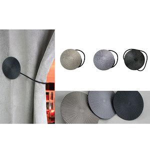Embrasse magnétique ronde métallique à cordon cuir