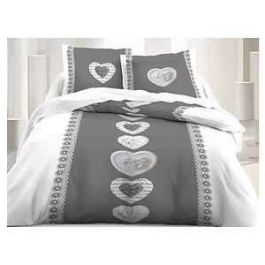 Housse de couette thème montagne gris/blanc motif coeur