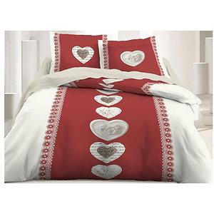 Housse de couette thème montagne rouge / écru motif coeur