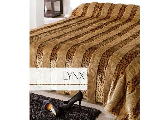 jet de lit couvre lit fausse fourrure lynx grand plaid. Black Bedroom Furniture Sets. Home Design Ideas