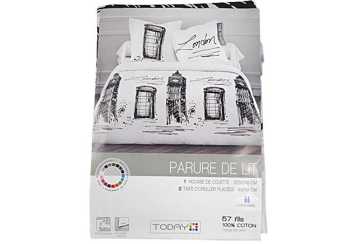 De couette noire amp blanche comprenant 1 housse de - Housse de couette noire et blanche ...
