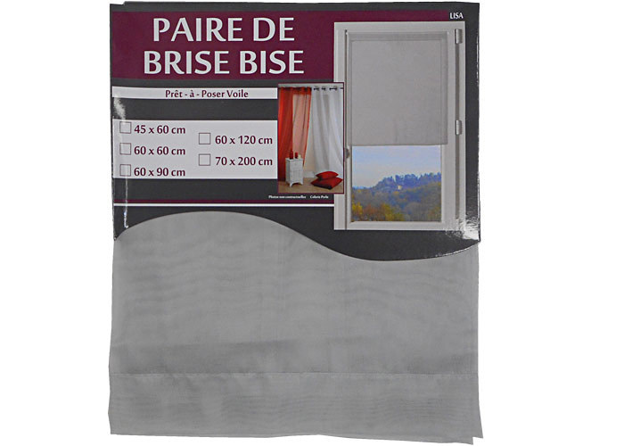paire de voile brise bise uni lisa brise bise coupe droite brise bise avec passe tringle. Black Bedroom Furniture Sets. Home Design Ideas