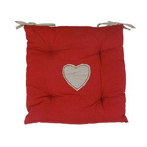 Galette de chaise joliesse rouge coeur écru