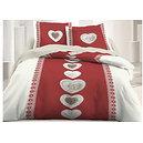 Parure de draps thème montagne rouge / écru motif coeur