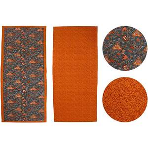 Chemin de table 45x146 tissu matelassé gris à fleurs orange