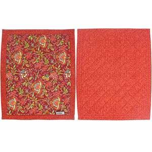 Set de table 45x35 tissu rouge imprimé fleuri