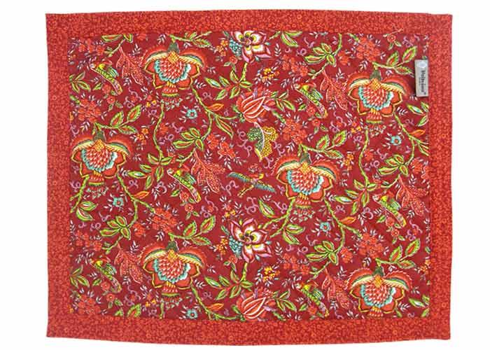 Set de table 45x35 tissu rouge imprim fleuri for Set de table tissu