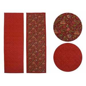 Chemin de table 45x146 tissu matelassé imprimé rouge
