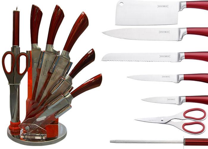 bloc couteaux inox sur socle rond manches rouges royalty line couteaux royalty line. Black Bedroom Furniture Sets. Home Design Ideas