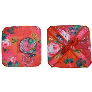 Galette de chaise fushia imprimé fleurs et oiseaux
