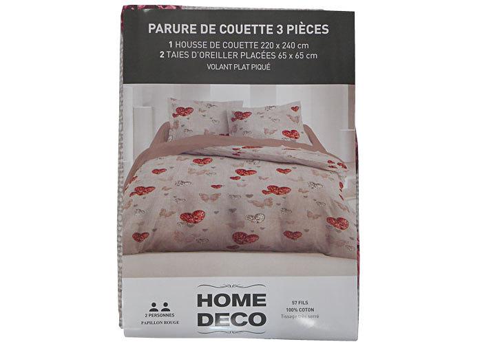 parure housse de couette imprim coeurs et papillons 140x200 cm lit 1 personne. Black Bedroom Furniture Sets. Home Design Ideas