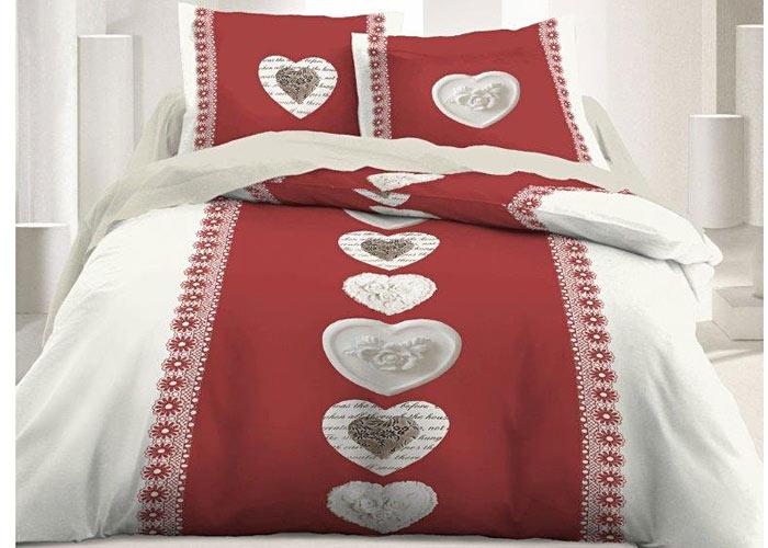 parure de draps th me montagne rouge cru motif coeur lit 1 personne de 90 cm ou 2 personnes. Black Bedroom Furniture Sets. Home Design Ideas