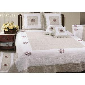 Couvre lit boutis 230x250 Bicolore lin-blanc Brodé de fil rouge