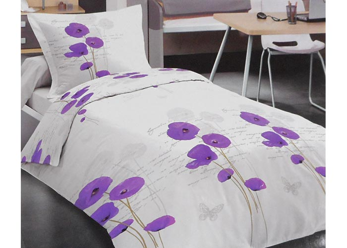 parure de draps 4 pi ces coquelicots violets et papillons pour lit 2 personnes de 160 cm. Black Bedroom Furniture Sets. Home Design Ideas
