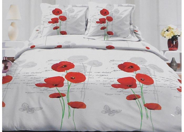 parure de draps 4 pi ces coquelicots rouges et papillons pour lit 2 personnes de 160 cm. Black Bedroom Furniture Sets. Home Design Ideas