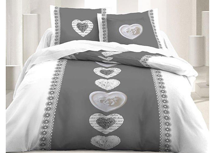 parure de draps th me montagne gris blanc motif coeur pour lit 1 personne de 90 cm. Black Bedroom Furniture Sets. Home Design Ideas