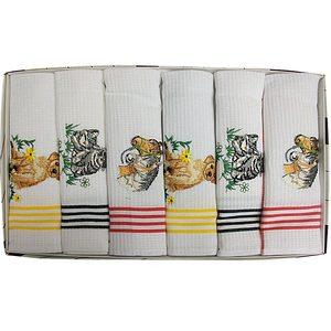 Coffret 6 torchons de cuisine nid d'abeille brodés motifs animaux