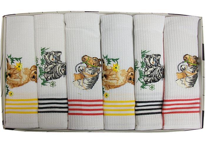 Coffret 6 torchons de cuisine nid d 39 abeille brod s motifs - Torchons de cuisine ...