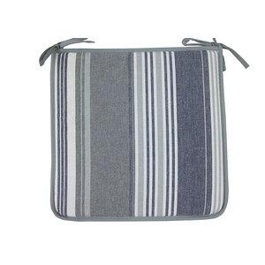 Galette de chaise rayée gris / bleu biais gris